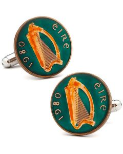 Hand Painted Irish Eire Coin Cufflinks