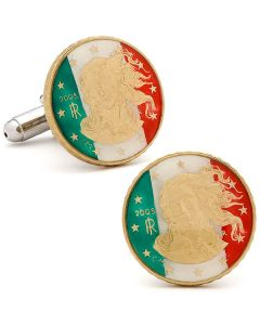 Hand Painted Italian Ten Cent Coin Cufflinks