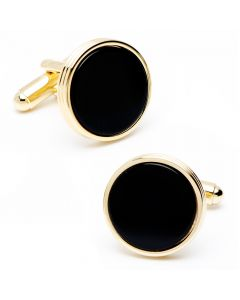 Gold and Onyx Ribbed Cufflinks
