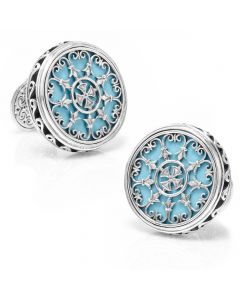 Sterling Round Scroll with Turquoise Stone Cufflinks
