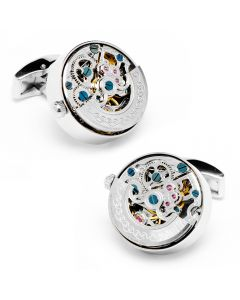 Stainless Steel Silver Kinetic Watch Movement Cufflinks