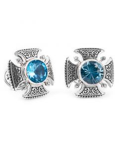 Sterling Maltese Cross Round Cut Blue Topaz Cufflinks