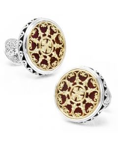 Konstantino Round Scroll with Carnelian Stone Cufflinks
