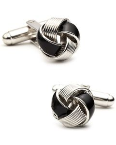 Black Enamel Love Knot Cufflinks