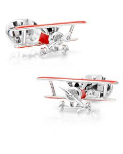 Sterling Red Winged Bi Plane Cufflinks