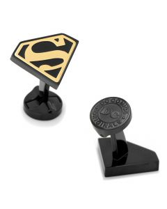 Stainless Steel Black and Gold Superman Cufflinks