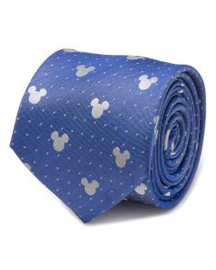 Mickey Mouse Blue Pin Dot Mens Tie