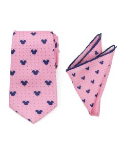 Mickey Mouse Dot Pink Tie and Pocket Square Gift Set