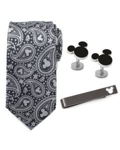 Mickey Mouse Gray Paisley Necktie Gift Set