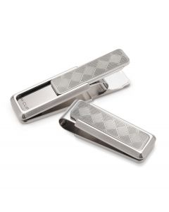 Stainless Steel Etched Herringbone Pattern Money Clip