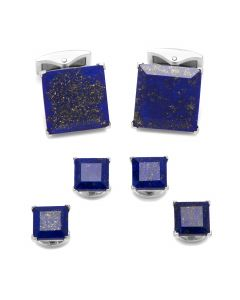 Lapis Bevelled Sterling Silver Stud Set