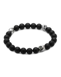 Thomas Onyx Stretch Bracelet in Pewter