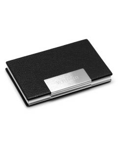 Engravable Black Leather Business Card Case