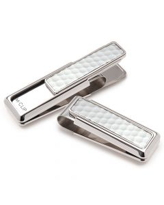 Golf Ball Skin Polished Rhodium Finish Money Clip
