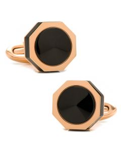 NeroUno Stainless Steel Rose Gold & Black Onyx Cufflinks