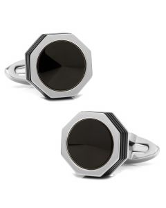 NeroUno Stainless Steel PVD & Black Onyx Inlay Cufflinks