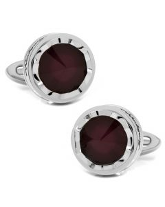 Parola Stainless Steel and Purple Glass Stone Cufflinks