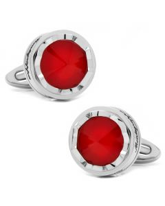 Parola Stainless Steel and Red Glass Stone Cufflinks