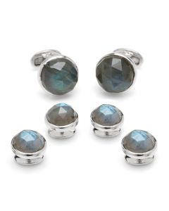 Sterling Faceted Round Labradorite Stud Set