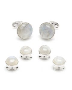 Sterling Round Moonstone Stud Set