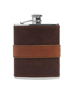 Cognac Leather-wrapped Flask