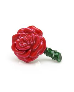 Sterling Silver Red Rose Lapel Pin