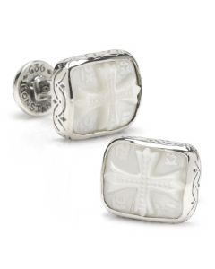 Konstantino Carved Pearl Cross Cufflinks