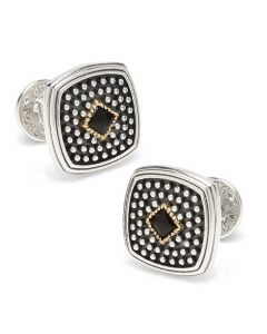 Sterling Silver & 18k Gold Cufflinks with Onyx