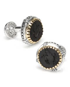 Sterling Silver and 18k Gold Cufflinks with Onyx Achilles