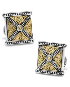 Sterling Silver & Bronze Ornate X-Detail Square Cufflinks