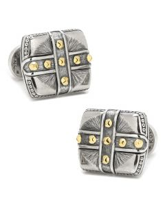 Sterling Silver & 18K Gold Square Cross Carved Cufflinks