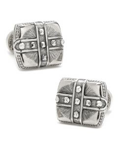 Sterling Silver Square Cross Carved Cufflinks