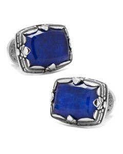 Sterling Silver and Lapis Faceted Doublet Cufflinks