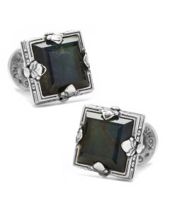 Sterling Silver and Spectrolite Faceted Square Cufflinks