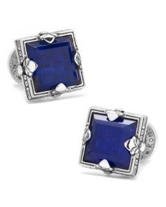 Sterling Silver and Lapis Faceted Square Cufflinks