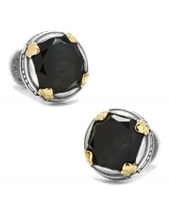 Sterling Silver and 18k Gold Hawks Eye Faceted Cufflinks