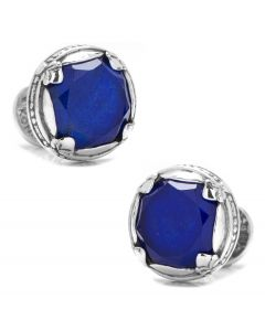 Sterling Silver and Lapis Faceted Doublet Round Cufflinks