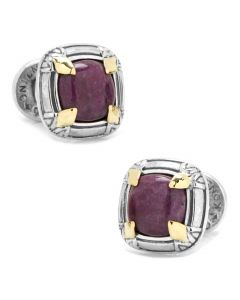 Sterling Silver and 18K Gold Ruby Root Cufflinks