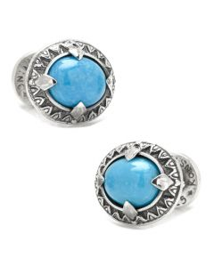 Sterling Silver and Oval Turquoise Cufflinks