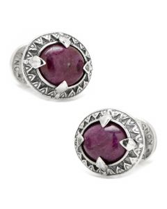 Sterling Silver and Oval Ruby Root Cufflinks