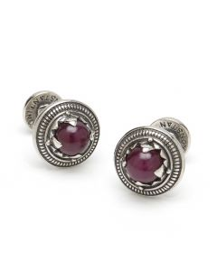 Sterling Silver Round Ruby Root Cufflinks