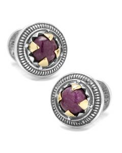 Sterling Silver and 18K Gold Round Ruby Root Cufflinks