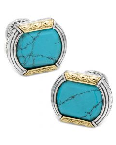 Sterling Silver & 18k Gold Cufflinks with Turquoise