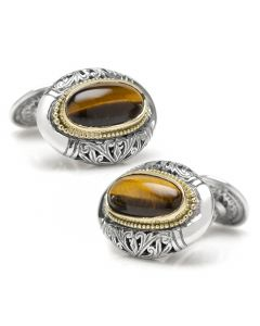 Sterling Silver and 18k Gold Tiger Eye Oval Cufflinks