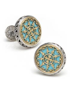 Sterling Silver & 18K Gold with Turquoise Stone Cufflinks