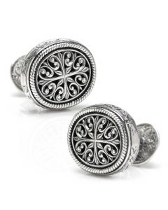 Konstantino Sterling Ornate Oval Cufflinks