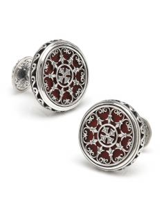 Sterling Round Scroll with Carnelian Stone Cufflinks