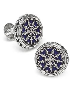 Sterling Round Scroll with Lapis Stone Cufflinks