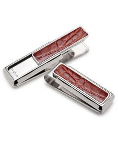 Rhodium with Cognac Alligator Money Clip