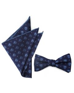 Black Panther Blue Bow Tie Pocket Square Gift Set